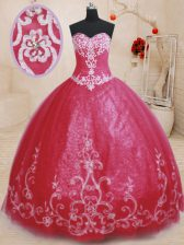 Glorious Red Sleeveless Floor Length Beading and Embroidery Lace Up Quinceanera Dress