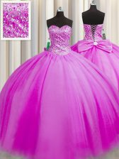 Sumptuous Really Puffy Sweetheart Sleeveless Quinceanera Gown Floor Length Beading Fuchsia Tulle