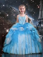 Excellent Baby Blue Sleeveless Floor Length Beading and Ruffles Lace Up Child Pageant Dress