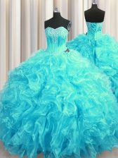 Aqua Blue Sweet 16 Dress Organza Brush Train Sleeveless Beading and Ruffles
