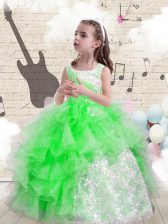 Beading and Ruffles Little Girls Pageant Dress Lace Up Sleeveless Floor Length