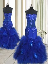 Top Selling Mermaid Sweetheart Sleeveless Prom Evening Gown Floor Length Beading and Ruffles Royal Blue Tulle