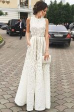 Flare Scoop Lace White Sleeveless Pleated Floor Length Prom Gown