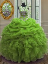 Superior Scoop Beading and Ruffles and Pick Ups Quinceanera Dress Lace Up Sleeveless Floor Length