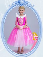 Scoop Hot Pink Long Sleeves Tulle Side Zipper Flower Girl Dress for Party and Quinceanera and Wedding Party