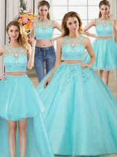 Four Piece Scoop Aqua Blue Sleeveless Tulle Zipper Vestidos de Quinceanera for Military Ball and Sweet 16 and Quinceanera