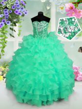 Ruffled Layers and Sequins Little Girl Pageant Dress Turquoise Lace Up Sleeveless Floor Length