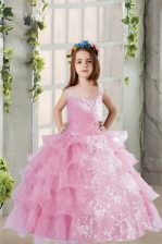 Lilac Organza Lace Up Child Pageant Dress Sleeveless Floor Length Lace and Ruffled Layers