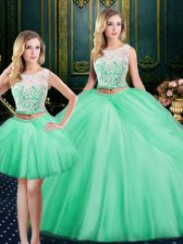 Three Piece Scoop Apple Green Sleeveless Floor Length Lace and Pick Ups Lace Up Sweet 16 Quinceanera Dress