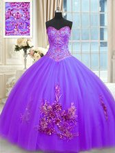 Tulle Sleeveless Floor Length Sweet 16 Quinceanera Dress and Beading and Appliques and Embroidery