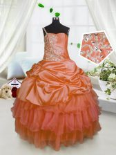 Fancy One Shoulder Floor Length Orange Kids Formal Wear Satin and Tulle Sleeveless Beading and Ruffled Layers and Pick Ups