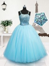 Turquoise Tulle Zipper Pageant Gowns For Girls Sleeveless Floor Length Beading and Sequins