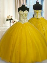 Captivating Sweetheart Sleeveless Quinceanera Gown Floor Length Beading and Sequins Gold Tulle