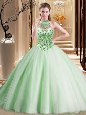 Halter Top Sleeveless Quinceanera Dress With Brush Train Beading Apple Green Tulle