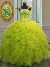 New Arrival Yellow Green Ball Gowns Straps Cap Sleeves Organza Floor Length Lace Up Beading and Ruffles and Sequins Ball Gown Prom Dress