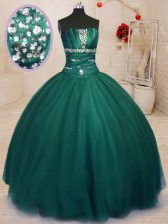Ideal Dark Green Ball Gowns Tulle Strapless Sleeveless Beading Floor Length Lace Up Quinceanera Dress