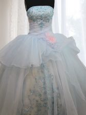 Light Blue Ball Gowns Appliques and Hand Made Flower Ball Gown Prom Dress Lace Up Organza Sleeveless Floor Length