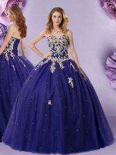 Floor Length Navy Blue Ball Gown Prom Dress Tulle Sleeveless Beading