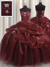 Pick Ups Floor Length Ball Gowns Sleeveless Burgundy 15th Birthday Dress Lace Up