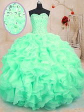Custom Made Apple Green Lace Up Sweetheart Beading and Ruffles Quinceanera Dress Organza Sleeveless