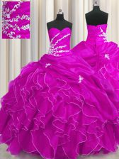 Floor Length Ball Gowns Sleeveless Fuchsia Ball Gown Prom Dress Lace Up