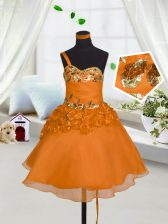 Mini Length Orange Red Little Girls Pageant Gowns Sweetheart Sleeveless Lace Up
