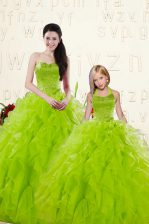 Trendy Sleeveless Organza Floor Length Lace Up Quinceanera Dress in Yellow Green with Beading and Ruffles
