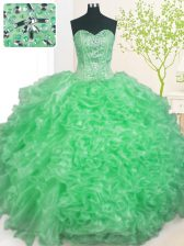 Apple Green Sleeveless Beading and Ruffles and Pick Ups Floor Length 15th Birthday Dress