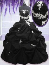 Adorable Appliques and Pick Ups Sweet 16 Quinceanera Dress Black Lace Up Sleeveless Floor Length