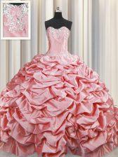 Designer Taffeta Sleeveless Sweet 16 Dress Brush Train and Beading and Pick Ups