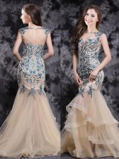 Mermaid Champagne Tulle Zipper Prom Dress Sleeveless With Brush Train Appliques and Ruffles