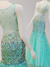 Mermaid Scoop Side Zipper Prom Party Dress Turquoise for Prom with Beading Brush Train