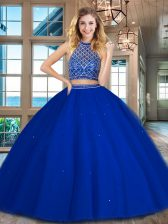 High Class Halter Top Sleeveless Tulle Floor Length Backless Quinceanera Gown in Royal Blue with Beading