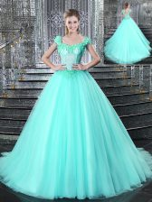 New Arrival Straps Sleeveless Tulle Quinceanera Dresses Beading and Appliques Brush Train Lace Up
