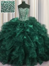 Visible Boning Bling-bling Turquoise Lace Up Quince Ball Gowns Beading and Ruffles Sleeveless With Brush Train