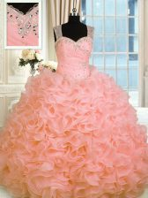 Low Price Watermelon Red Straps Neckline Beading and Ruffles Quinceanera Dress Sleeveless Zipper