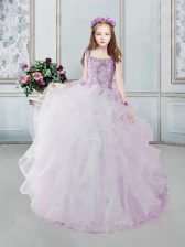 Square Organza Sleeveless Floor Length Little Girls Pageant Dress Wholesale and Beading and Ruffles