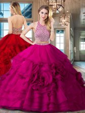 Backless Halter Top Sleeveless Sweet 16 Dress With Brush Train Beading and Ruffles Fuchsia Organza