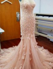 Comfortable Mermaid Baby Pink Sleeveless With Train Appliques Zipper Evening Dress