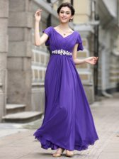 Cap Sleeves Zipper Ankle Length Beading and Appliques and Ruching Prom Gown