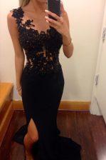 Mermaid Scoop Chiffon Sleeveless Floor Length Homecoming Dress and Lace