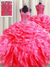 Fashion Zipper Up See Through Back Hot Pink Zipper Ball Gown Prom Dress Beading and Ruffles and Pick Ups Sleeveless Floor Length