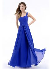 Colorful Royal Blue Straps Neckline Hand Made Flower Prom Evening Gown Sleeveless Zipper