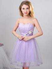 Excellent Lavender Sleeveless Beading Knee Length Dama Dress for Quinceanera