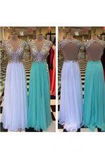 Designer V-neck Sleeveless Prom Party Dress Floor Length Beading White Chiffon