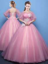 Sophisticated Floor Length Pink Ball Gown Prom Dress Scoop Half Sleeves Lace Up