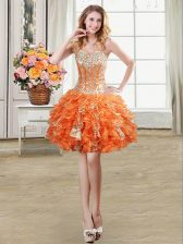 Beading and Ruffles and Sequins Prom Gown Orange Lace Up Sleeveless Mini Length