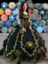 Fitting Floor Length Lace Up 15th Birthday Dress Black for Military Ball and Sweet 16 and Quinceanera with Beading and Embroidery and Ruffles