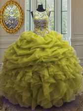 Graceful Scoop Yellow Green Ball Gowns Beading and Ruffles and Pick Ups Ball Gown Prom Dress Lace Up Organza Sleeveless Floor Length