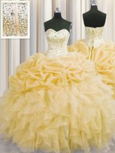 Visible Boning Organza Sweetheart Sleeveless Lace Up Beading and Ruffles Quinceanera Gowns in Gold